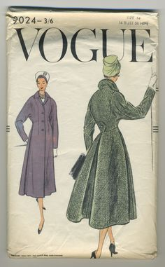 """Vogue 9024.  Copyright 1956-1957: """"Coat: No waistline seam at centre front.  Pleated back skirt section has an inverted pleat at centre back with a pleat at each side and joins the top at a higher waistline.  Buttoned tab detail below deep back yoke.  Notched collar; long kimono sleeves."""" Complete, in factory folds."""