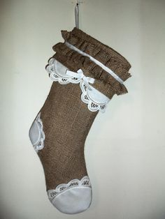 Burlap Christmas Stocking with Battenburg by SouthernComfortable, $35.00