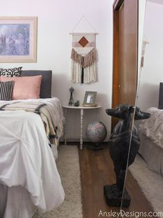 Blush, Copper, and grey boho Bedroom