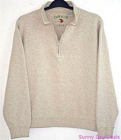 Orvis Mens Sweatshirt Sweater Cotton 1/4 Zipper Pullover Long Sleeve Beige L  #Orvis #12Zip
