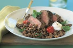 Barbecued lamb on lentils main image
