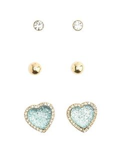 Gemstone Heart Earring Trio: Charlotte Russe $6