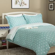 @Overstock - 300 Thread Count Cotton Dot Shoppe Duvet Set - Add a delightful dose of dotted style to your home decor with this charming Dot Shoppe duvet cover set. Available in several fun color options, this pure cotton sateen cover and sham set reverses to a whimsical coordinated stripe pattern.  http://www.overstock.com/Bedding-Bath/300-Thread-Count-Cotton-Dot-Shoppe-Duvet-Set/9272793/product.html?CID=214117 $40.04