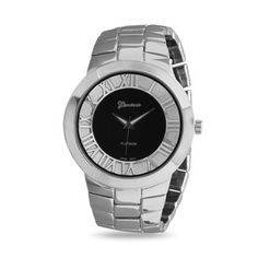 Men's Black and Silver Tone Fashion Watch