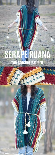 All The Colors Serape Crocheted Ruana Pattern via @MamaInAStitch This free crochet pattern is easy and the colors work so well together! It makes for a really fun DIY and is such a fun piece to wear. A beautiful poncho for fall or winter wear!