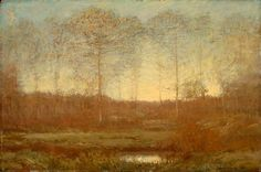 """""""Late Twilight - Autumn,"""" Dwight W. Tryon, 1906, oil on panel, 16 x 24"""", Memorial Art Gallery of the University of Rochester."""