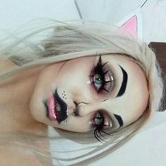 (notitle) - Make up - - Maquillaje - halloween art Makeup Clown, Makeup Fx, Cosplay Makeup, Prom Makeup, Cat Costume Makeup, Beauty Makeup, Carnival Makeup, Hair Beauty, Halloween Makeup Looks