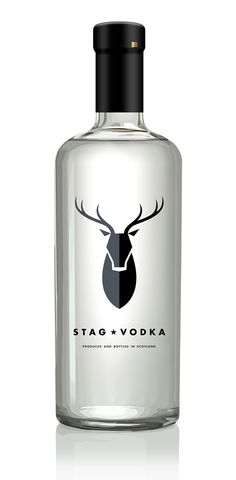 Stag Vodka, the logo in this bottle is great, how there are two separate shades in it stops it from being too bland. The type matches the overall look of the bottle.