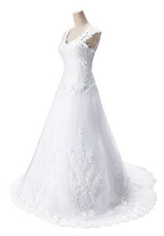Babyonline Lace Satin Wedding Dresses A-line V Neck Sexy Bridal Gown #summer
