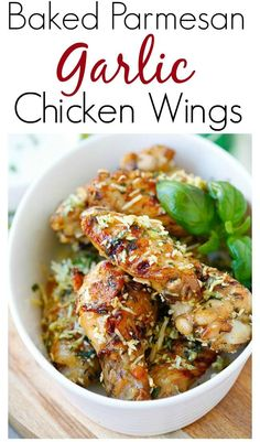 Baked Parmesan Garlic Chicken Wings – best and easiest baked chicken wings EVER with parmesan, garlic, and blue cheese mustard dressing | rasamalaysia.com