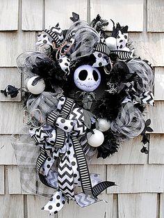Nightmare Before Christmas Wreath for the Door Jack Skellington Wreath Black and White Stripes by TisTheSeasonDesign on Etsy