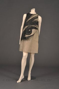 """Poster Dress"" by Harry Gordon. 1968. Rayon/Nylon/Plastic/Cardboard. FIDM Museum Collection"