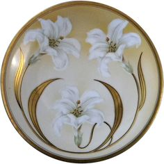 @rubylanecom Exceptional Hand Painted Easter Lily Cabinet Plate #rubylane