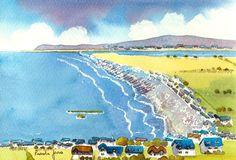 Original Watercolour Borth Cardigan Bay by Pamelajonesartstudio