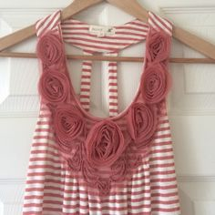 "Host Pick! Rosette Tank  HOST PICK! 4/23 ""Top Trends Party""  Elegant striped tank with blush-colored rosettes. Worn once. Mine Tops Tank Tops"