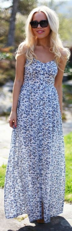 Blue Maxi Floral Sheer Button Up Dress by Cath In The City