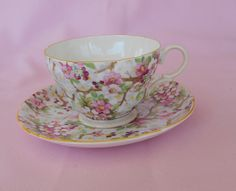 Shelley Teacup and Saucer Set  Maytime by TollethHouseVintage, $84.99