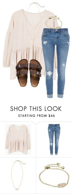 """Untitled #7"" by katielroberts on Polyvore featuring MANGO, River Island, Kendra Scott and Birkenstock"