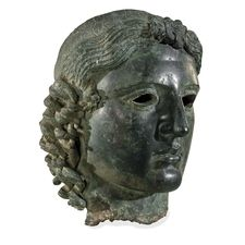 The Chatsworth Head    ca. 460 BC    This bronze cast of the god Apollo was found near Tamassos, Cyprus. It is slightly larger than life-sized and originally included inlaid eyes. This fragment of the original sculpture in now housed in The British Museum, London, England. http://www.britishmuseum.org/explore/highlights/highlight_objects/gr/b/bronze_head_of_apollo.aspx