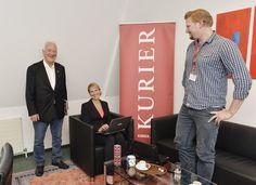 19.9.2013: Kathrin Nachbaur (Team Stronach) im KURIER-Wahlchat. Mit Partei-Chef Frank Stronach und KURIER-Redakteur Peter Draxler.