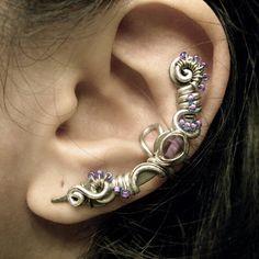 Violet Silver Ear Cuff by Jynxsbox on Etsy