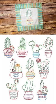 """10 darling cactus designs in our popular vintage """"hand stitched"""" look! Cactus Embroidery, Embroidery Store, Embroidery Sampler, Embroidery Patterns Free, Free Machine Embroidery, Vintage Embroidery, Cross Stitch Embroidery, Hand Embroidery, Cross Stitch Patterns"""