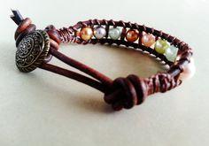 Beaded Leather Wrap Bracelet; Pastel Pearl, Very Small, Rustic Style, Boho Chic, Surfer, Urban Bracelet, Beach Jewelry, Beaded Accessory