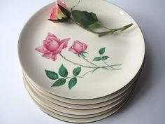 Vintage Pink Rose Jefferson Styled Dinner Plates Set by jenscloset