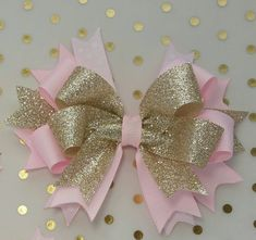 Big Pink Gold bow, Glitter Bows, Royal Princess Party bows, Baby Headband, Pink Gold Birthday, Vintage Tea Party, Carousel, Big Bow, Twinkle The Perfect (5) big Pink Gold hair bow for Gold Glitter Sparkle birthday, Royal Princess Birthdays, Tea Party, ONEderland birthdays, Twinkle little