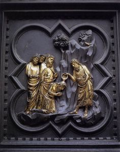 """""""The Baptism of the Multitudes"""" by Andrea Pisano (1330) Cathedral Baptistry, Florence"""