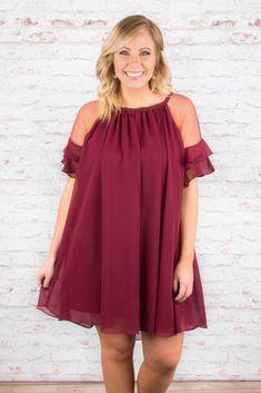 When In Rome Dress, Burgundy