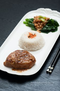 Ginger Pork Chop with Kailan (Chinese Broccoli)