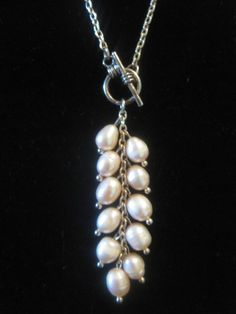 Pink Freshwater pearl pendant/Y Necklace by mikisimms on Etsy, $35.00