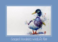 Eend nr. 7094 Watercolour Painting, Rooster, Birds, Animals, Art, Animales, Animaux, Bird, Kunst