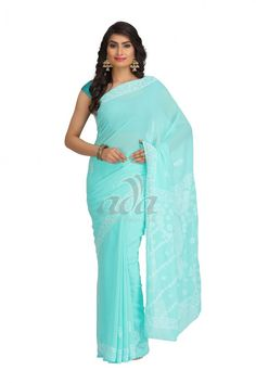Ada Hand Embroidered Green Faux Georgette Lucknow Chikan Saree With Blouse- A191784 Price Rs.1,200.00 #Ada_Chikan #lucknow stitch saree #chicken work saree #lucknow kadai saree online #ada lucknowi saree #chikan suits online india #lucknow georgette sarees #chikankari sarees online india #lucknow stitch saree online