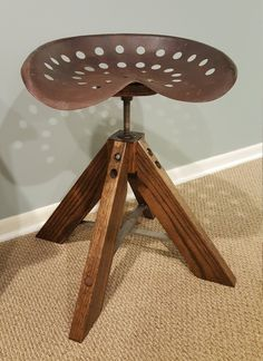Reclaimed Tractor Seat Stool   Vintage Tractor Seat Stool   Farmhouse Stool  By FirePitWoodWorks On Etsy