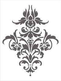 Stencil Damask Design 4.1, flourish scroll wall stencil, image is approx. 14 x 11 inches. $22.50, via Etsy.