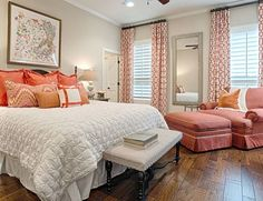 coral, beige, and white bedroom