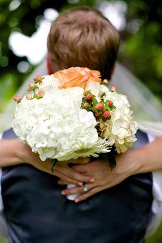 white hydrangea wedding bouquet with coral roses Squires McAuliffe Hydrangea Bouquet Wedding, White Wedding Bouquets, Wedding Reception Food, Wedding Blog, Wedding Ideas, Trendy Wedding, Rustic Wedding, Coral Roses, Wedding Engagement