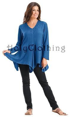 Gabriella Boho Chic V-Neck Asymmetrical Hem Embroidered Tunic Top Medium - Medium - Shop by Size - Tops