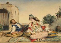 Algérie - Peintre Français Ferdinand Victor Eugène Delacroix (1798 -1863) huile sur toile , Titre: Un couple mauresque sur leur terrasse
