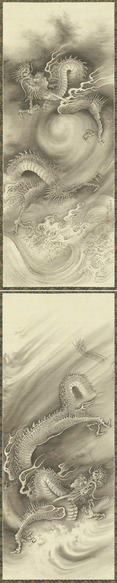 NAKABAYASHI Chikutō(中林 竹洞 Japanese, 1776-1853) Dragons 雲龍図