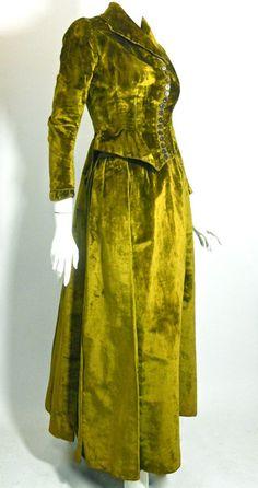 Absinthe Green Velvet Bustle Back Skirt & Bodice circa late 1800s