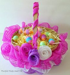 Tutorial for creating a ruffled deco mesh Easter basket. by Purple Hues and Me