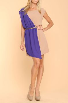 Jealous Tomato Owens Avenue Color Block Dress In Taupe