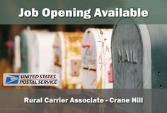 NOW HIRING: RURAL CARRIER - CRANE HILL  Company: United States Postal Service Location: Crane Hill, AL  Pay: $17.02 an hour  United States Postal Service External Publication for Job Posting 10034693   Job Title: RURAL CARR ASSOC/SRV REG RTE Facility Location CRANE HILL 15051 COUNTY ROAD 222 CRANE HILL, AL 35053-3209