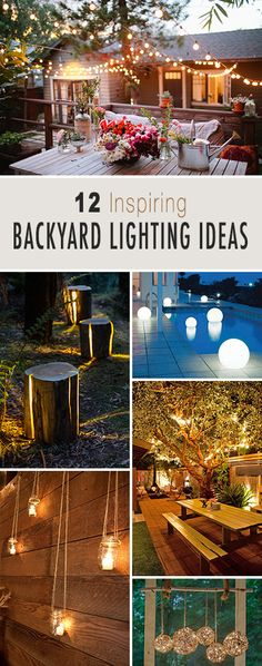 Garden Landscaping Ideas 12 Inspiring Backyard Lighting Ideas Lots of creative ideas and projects!Garden Landscaping Ideas 12 Inspiring Backyard Lighting Ideas Lots of creative ideas and projects! Backyard Projects, Outdoor Projects, Backyard Patio, Backyard Landscaping, Backyard Furniture, Backyard Designs, Furniture Decor, Diy Projects, Wedding Backyard