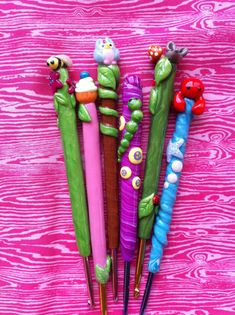 Polymer clay crochet hooks at Etsy!  TOTALLY ADORABLE! $15