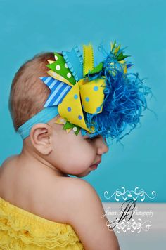 Over The Top Yellow  Turquoise Hair Bow  Curly Ostrich by miminco, $16.99