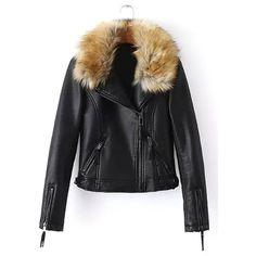Yoins Yoins Artificial Fur Leather Look Biker Jacket ($57) ❤ liked on Polyvore featuring outerwear, jackets, yoins, black, coats & jackets, fur jacket, black biker jacket, motorcycle jacket, faux leather jacket and vegan moto jacket